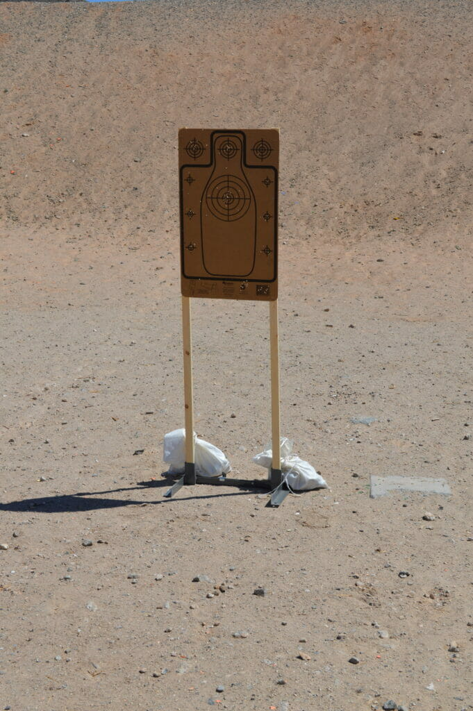 Re-Nine Safety Cardboard Silhouette Target on 1x2 Target Stand at the Shooting Range