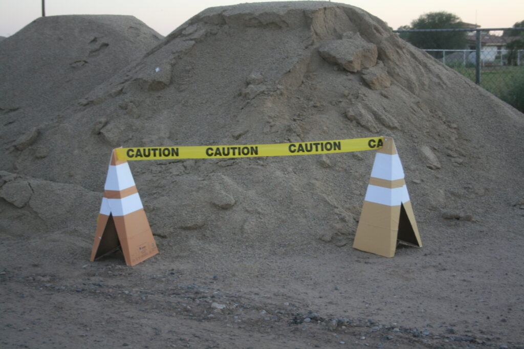 Safety Cones with Caution Tape - Sand Pile