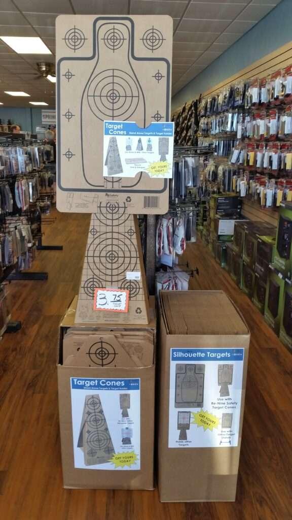 Re-Nine Shooting Targets Cardboard Target Cones & Silhouette Targets In-Stock, Store Display
