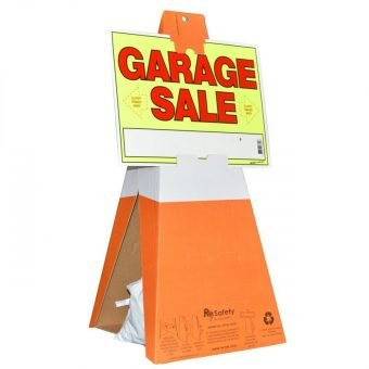Safety Cones with Garage Sale Sign
