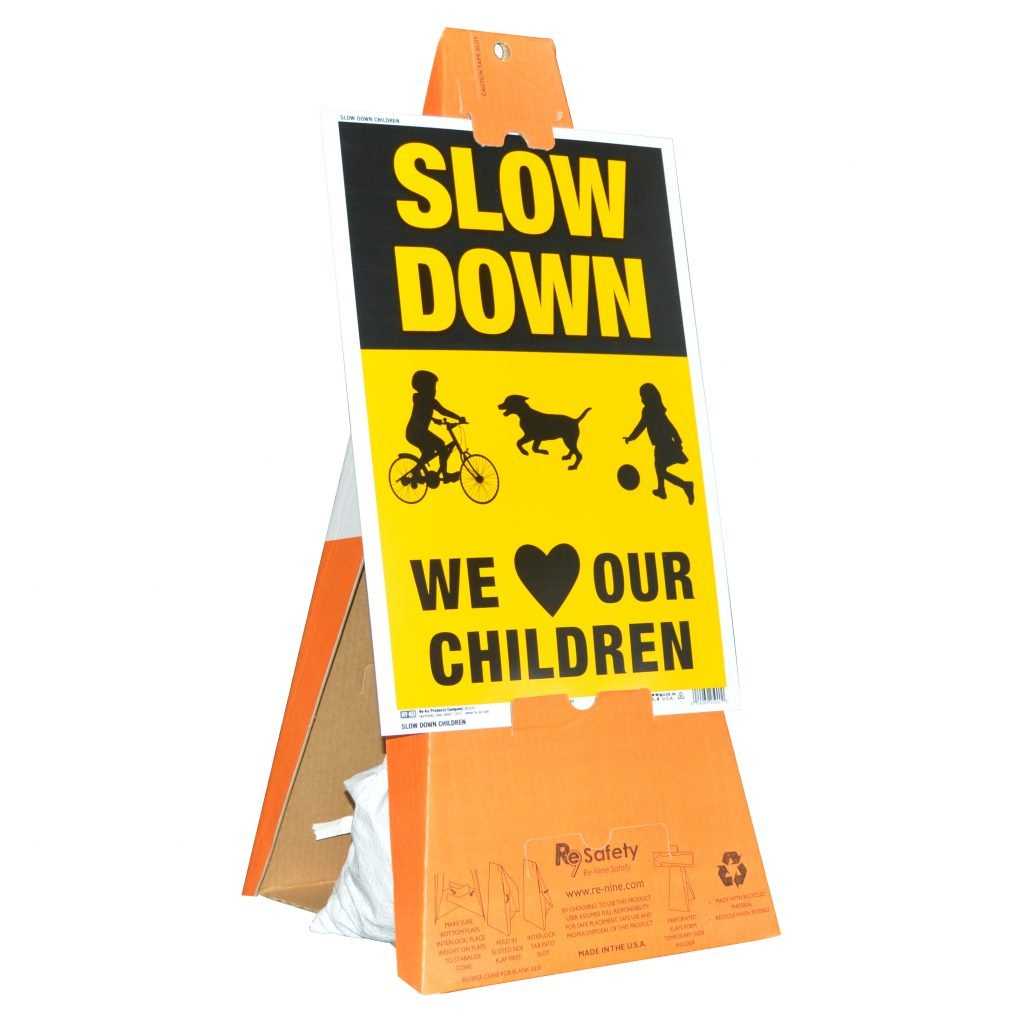Safety Cones with Slow Down-Children Playing Sign