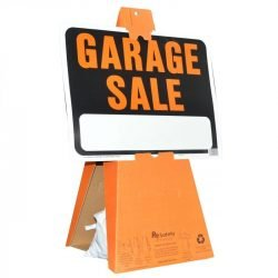Safety Cones with Large Garage Sale Sign