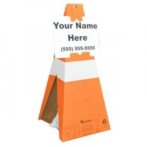 Safety Cones with Custom Sign
