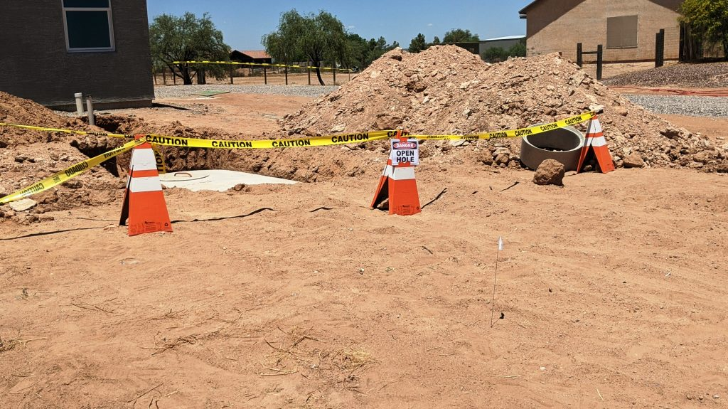 Safety Cones with Caution Tape and Holding Sign - Open Hole